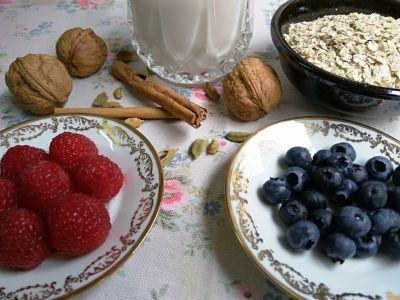 Ingredientes para gachas de avena o porridge