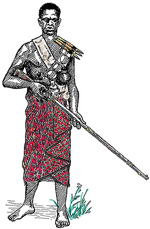 Ashanti warrior with Danish musket, XIX century.