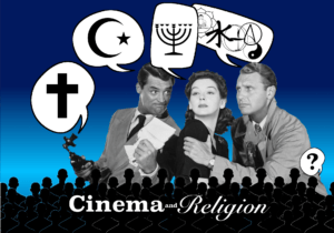 Classic movie stars on screen seeming to argue about religion.