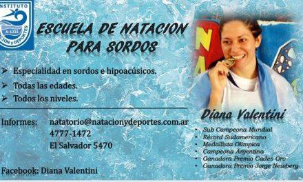 Natación para sordos: Diana Valentini, una campeona que enseña