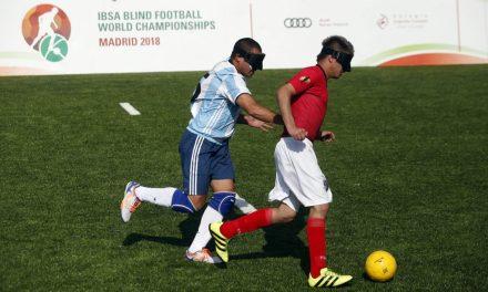 Fútbol para ciegos: Argentina y Colombia empataron en Madrid