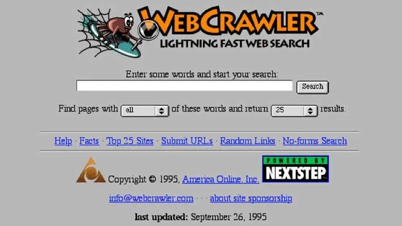 página del motor de búsqueda WebCrawler