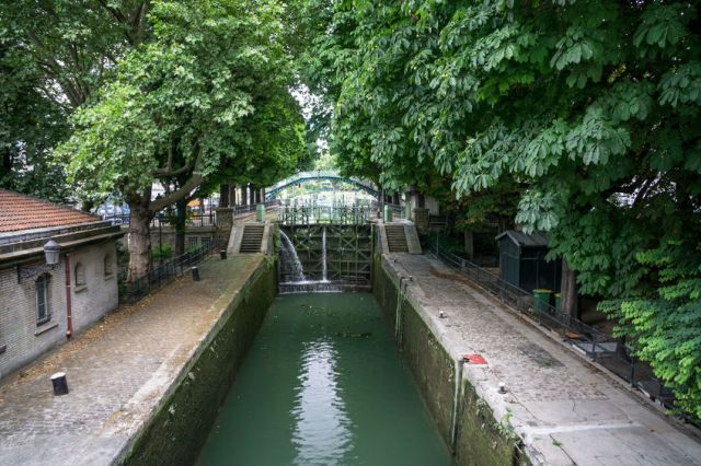 48107565 - canal lock in the saint-martin canal in paris france