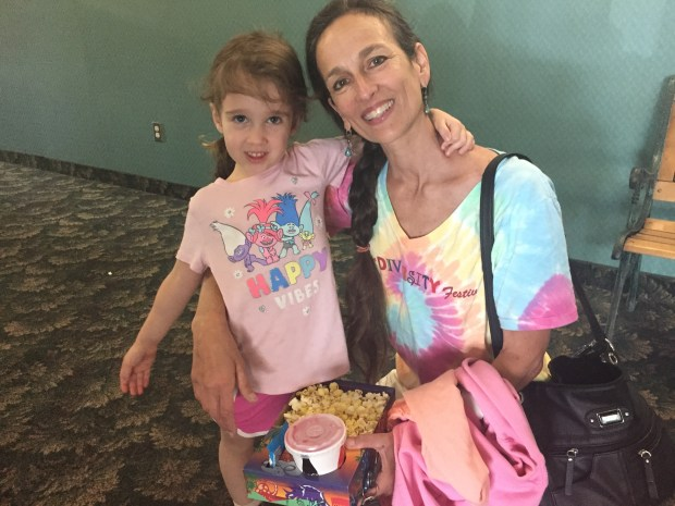 Lisa Flores with her granddaughter Aria went Tuesday to the Free Admission Summer Kids Series at Paradise Cinema 7