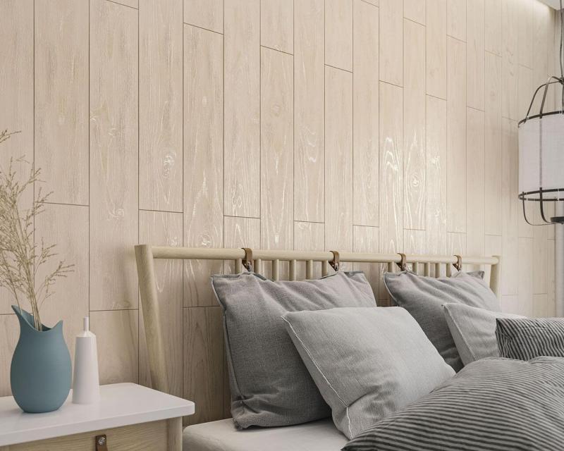 Motyw drewna można wykorzystać nietylkonapodłodze, alerównież naścianie.