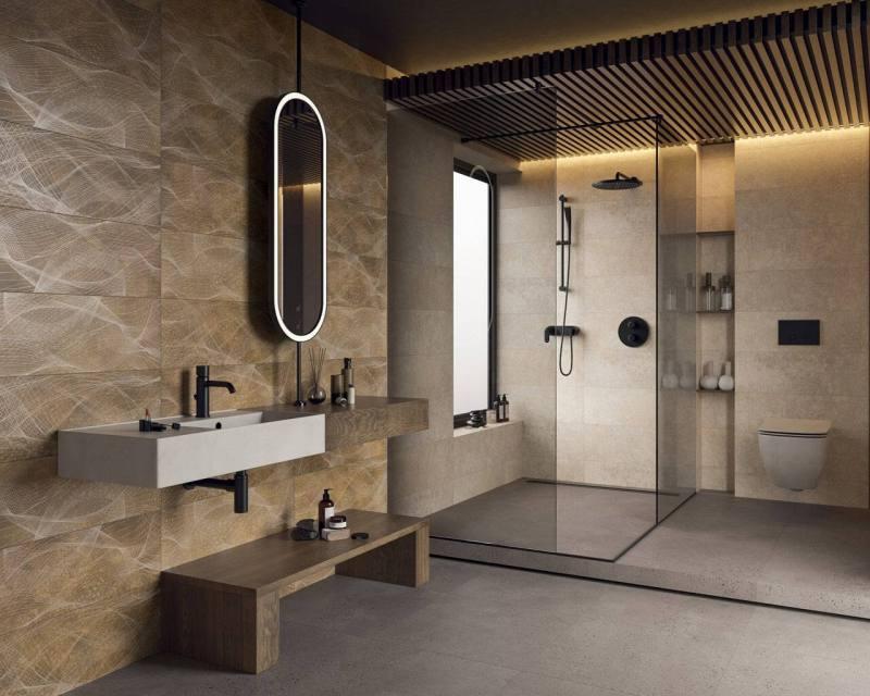 Łazienka zoknem jako jedna ześcian kabiny prysznicowej tociekawy zabieg aranżacyjny.