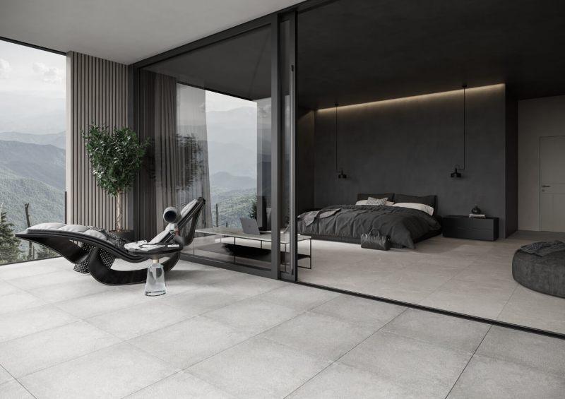 Jednolita, neutralna podłoga natarasie iwsypialni daje możliwość zastosowania wyrazistych dodatków wobu tych strefach.