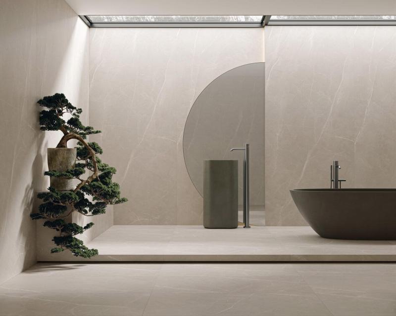 Atrybut alt: Jasne kolory itylkoniezbędne przedmioty tokwintesencja łazienki urządzonej zgodnie zminimalistyczną wizją.