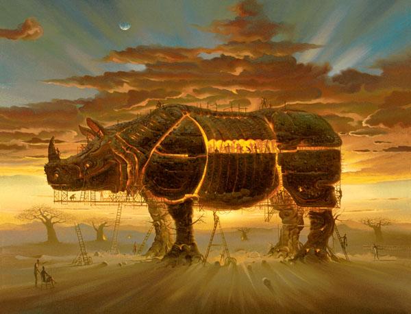 TROJAN HORSE<br />39.4 x 31.5<br />Edition: 325 by Vladimir Kush