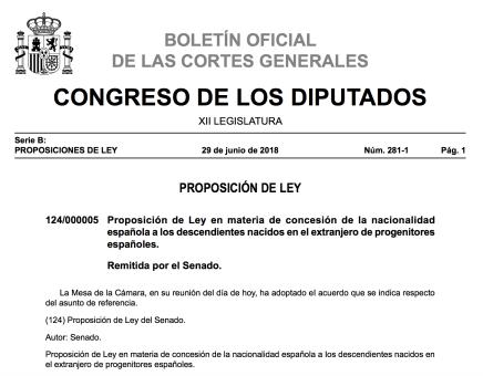 ley de nietos descedientes de españoles nacionalidad