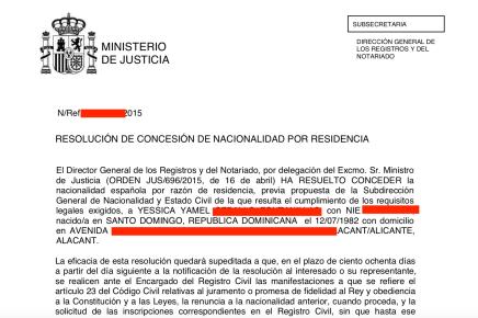 resolucion nacionalidad española