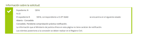 Asad. Presentado el 19 de octubre. Decreto de admisión con fecha 29 de octubre