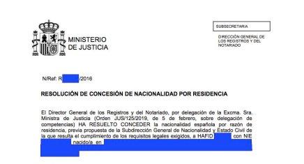 Concesiones de Nacionalidad Española Hafid