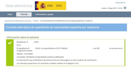 Concesiones de Nacionalidad Española Yanuel