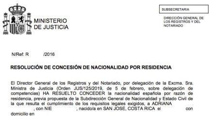 resoluciones de concesión de nacionalidad española Adriana