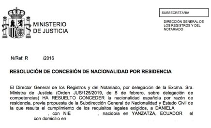 concesión de nacionalidad española Daniela