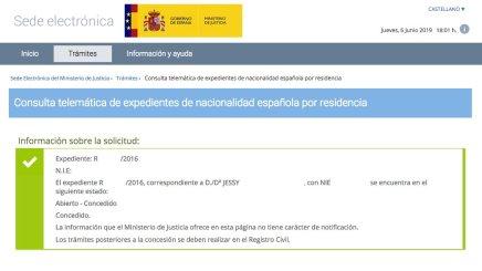 resoluciones de concesión de nacionalidad española JESSY