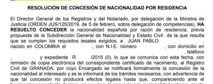 resoluciones de concesión de nacionalidad española Juan Pablo