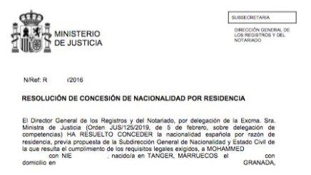 Resoluciones de concesión de nacionalidad española Mohammed