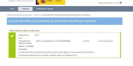 resoluciones de concesión de nacionalidad española Muhammad