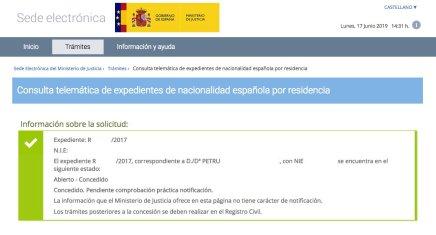 resoluciones de concesión de nacionalidad española PETRU