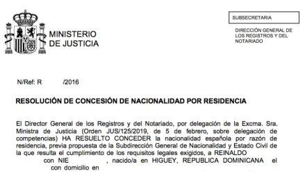 concesión de nacionalidad española Reinaldo