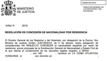 resoluciones de concesión de nacionalidad española Senia