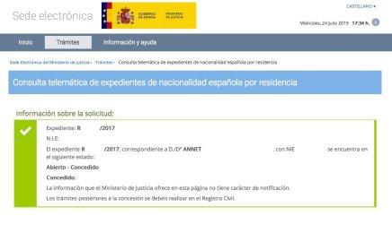 Concesión de Nacionalidad Española de ANNET