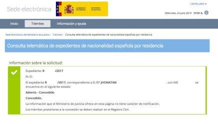 Concesión de Nacionalidad Española de JHONATAN
