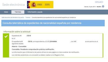 Resoluciones de Concesión de Nacionalidad Española Johanna