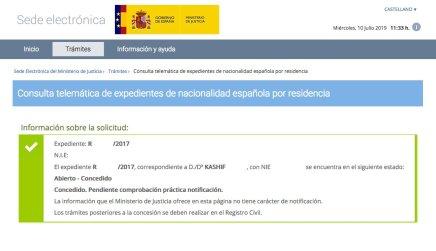 Resoluciones de Concesión de Nacionalidad Española Kashif