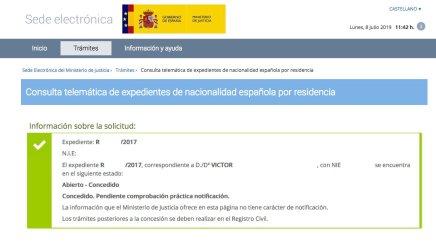 Resoluciones de Concesión de Nacionalidad Española Víctor