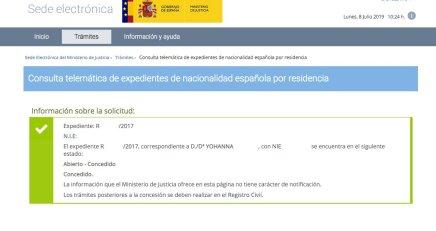 Resoluciones de Concesión de Nacionalidad Española Yohanna