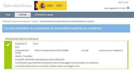Resolución de Concesión de Nacionalidad Española de Andrea