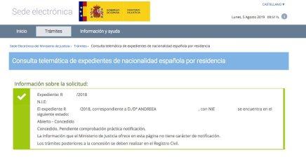 Resolución de Concesión de Nacionalidad Española de Andreea