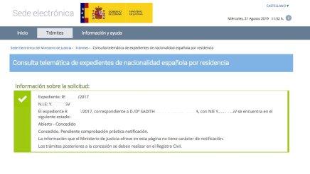 Concesion nacionalidad española Sadith