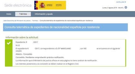 Resolución de Concesión de Nacionalidad Española de Marouane