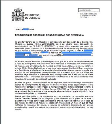 concesion nacionalidad española Deicy