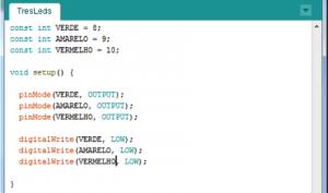 Configuração inicial dos pinos do Arduino