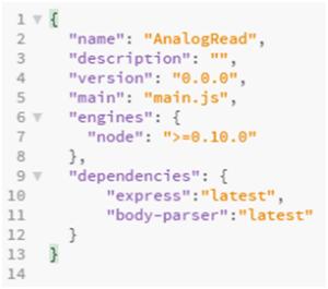 Arquivo JSON de configuração do projeto