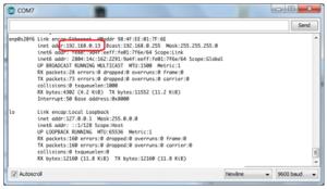 Mostrando o endereço IP da placa
