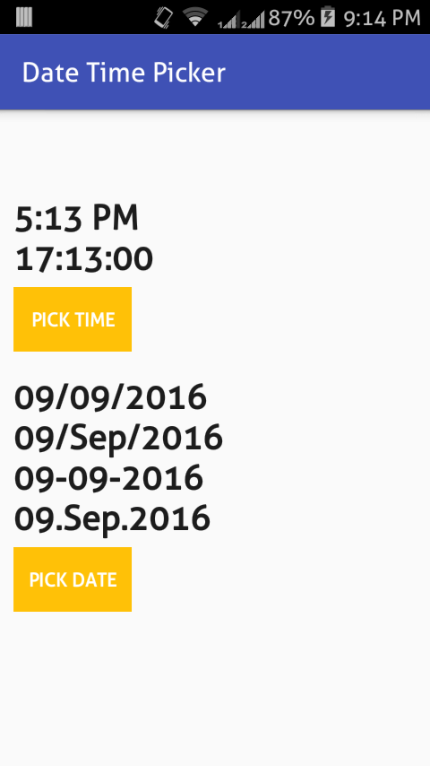 Android Datetime picker example • ParallelCodes