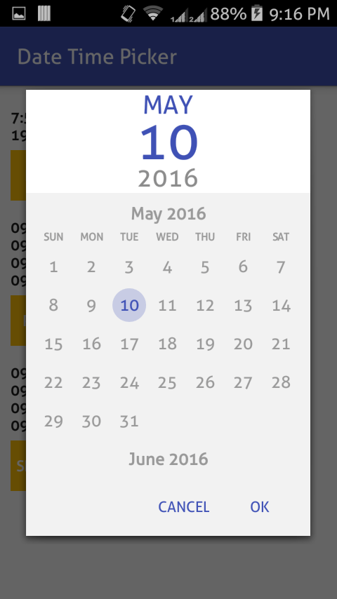 Calendar Design In Java : Android material datetime picker example parallelcodes