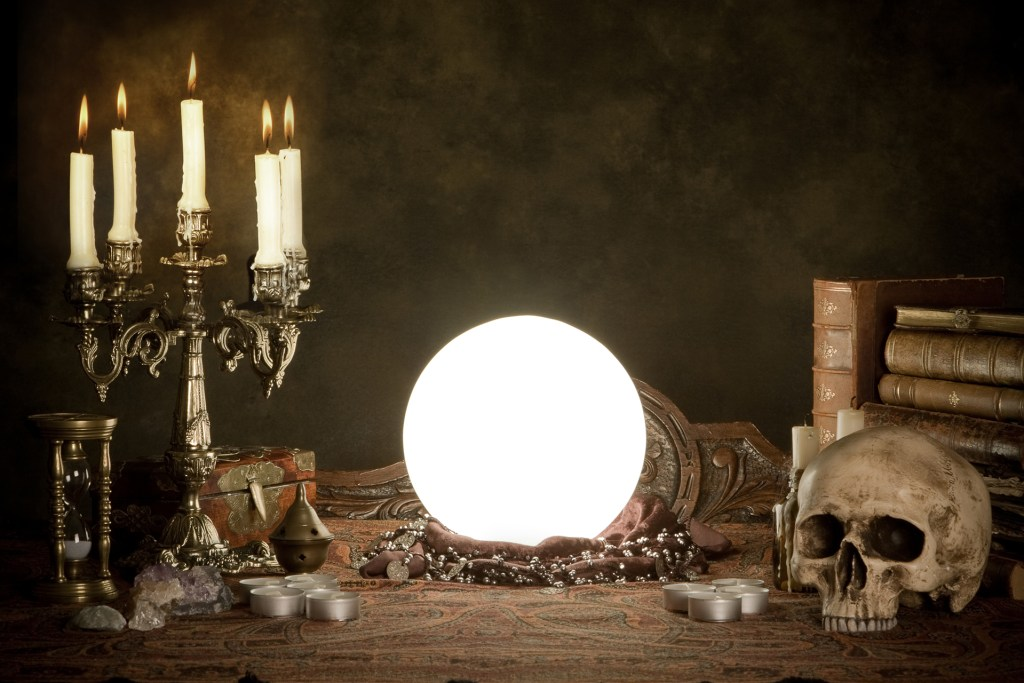 Scrying Table with Crystal Ball and Skull