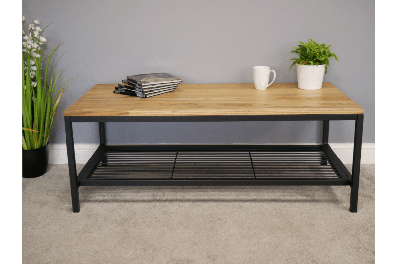 elm wood coffee table powder coated steel frame shelf