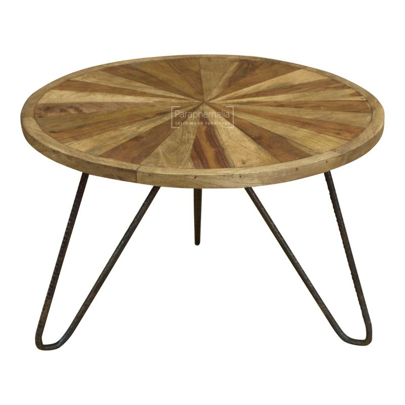 Urban Sheesham Wood Coffee Table Round Black Metal Legs Made From Solid Sheesham Wood Indian Funky Furniture