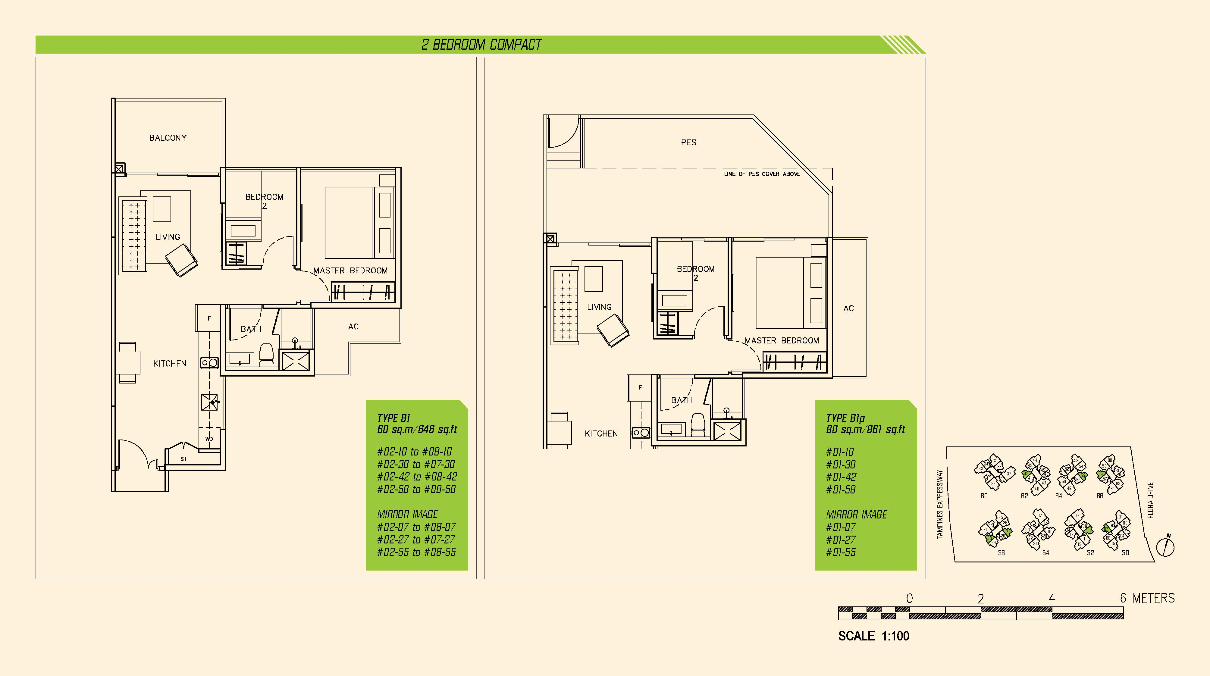 Parc Olympia 2 Bedroom Compact Floor Plans Type B1 and B1p
