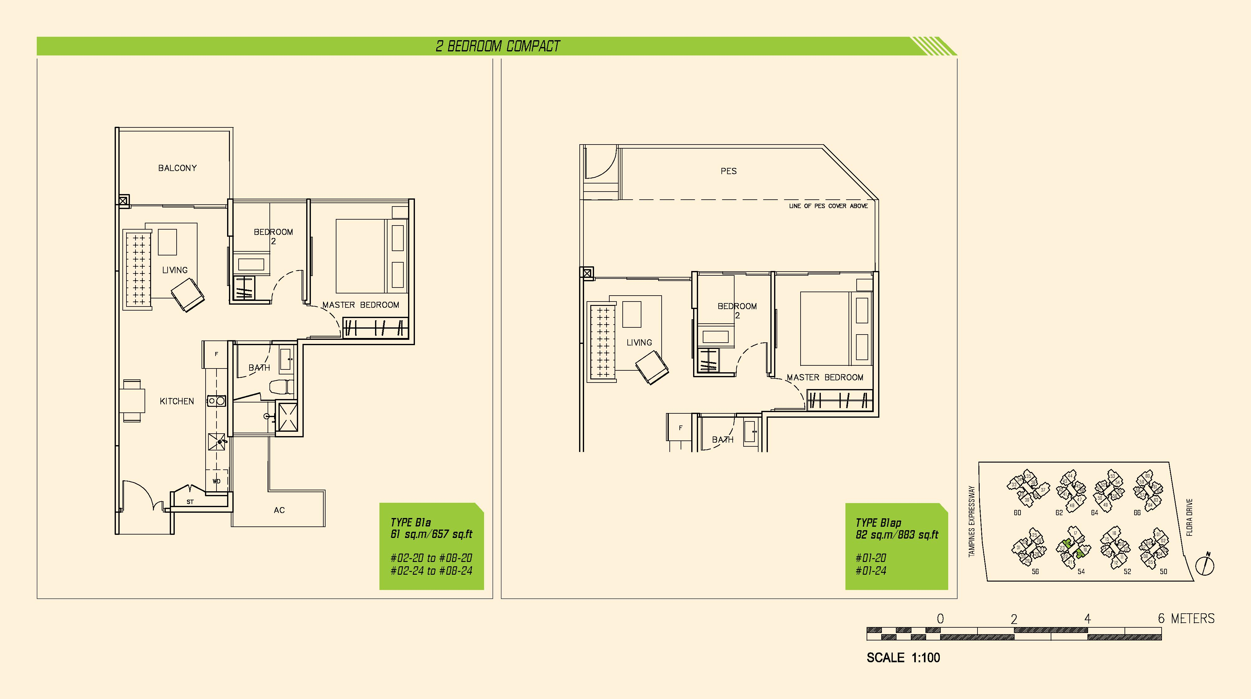 Parc Olympia 2 Bedroom Compact Floor Plans Type B1a and B1ap