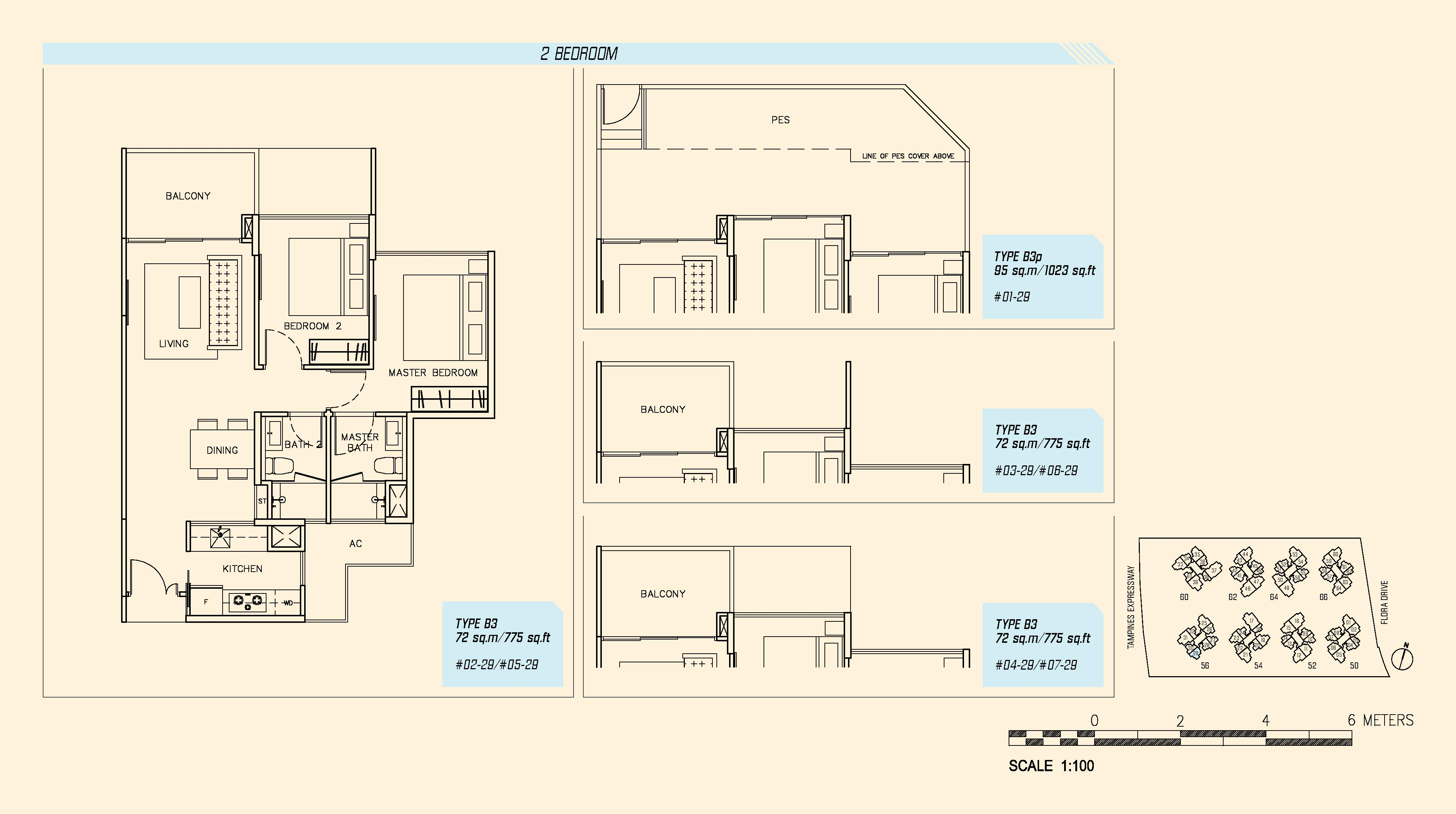 Parc Olympia 2 Bedroom Floor Plans Type B3 and B3p
