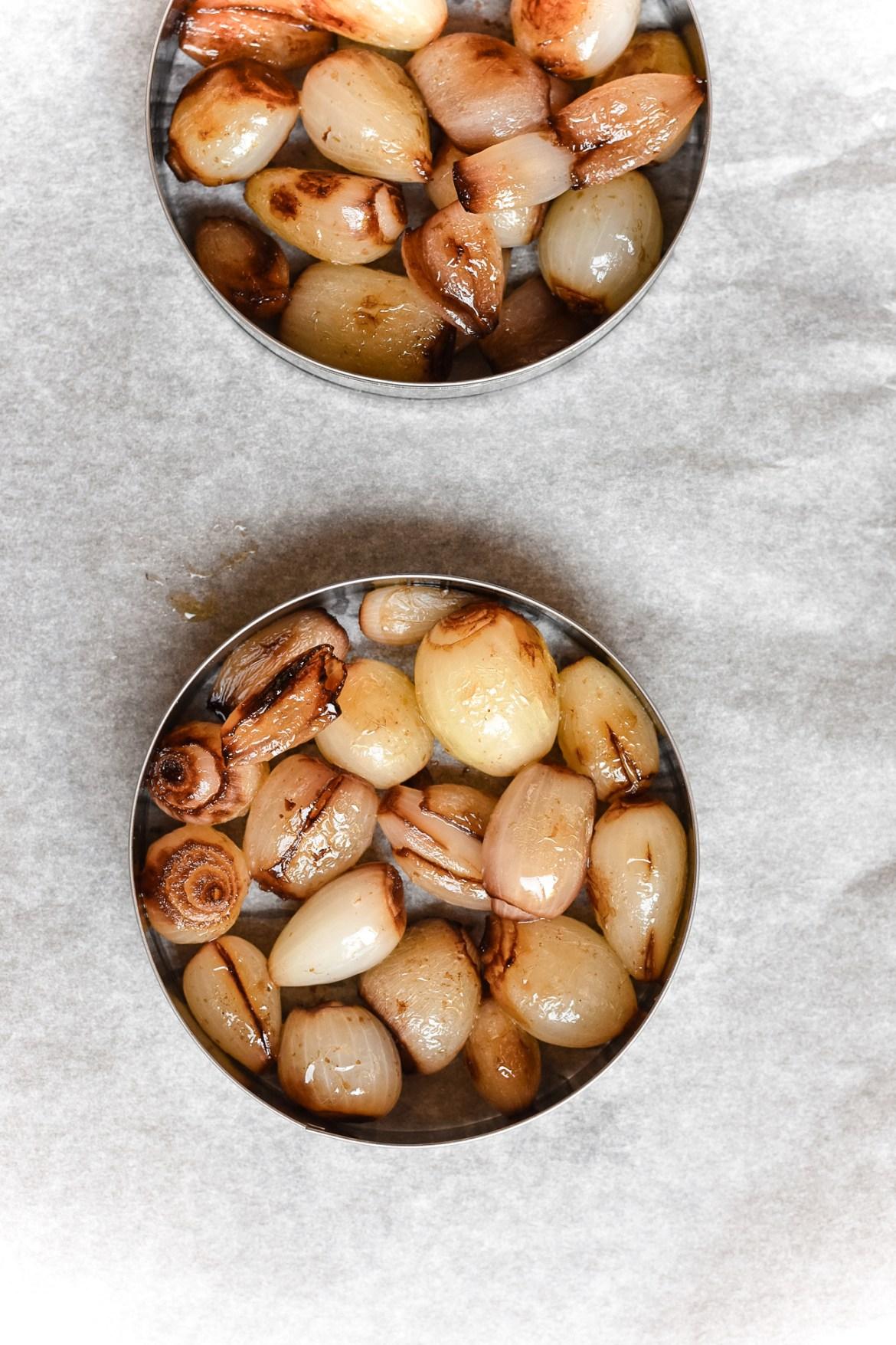 Balsamic Pearl Onion Tartes Tatin